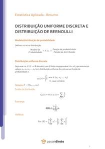 Distribuição Uniforme e Bernoulli - Resumo