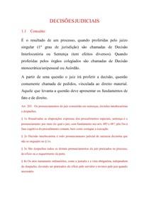 PROCESSO CIVIL - decisões judiciais
