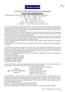 Ajuste de equações químicas por Redox Lista de Exercícios 1 (Prof Brasil)