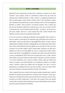 RESENHA SOBRE DOM CASMURRO