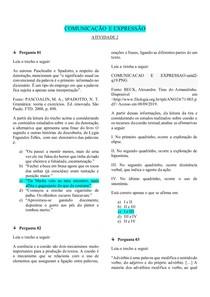 COMUNICAÇÃO E EXPRESSÃO (UNIDADE 1 - ATIVIDADE 2)