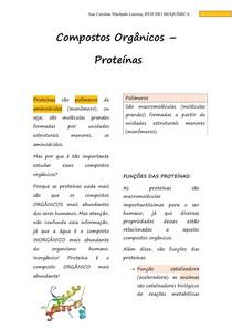 Compostos orgânicos - Proteínas