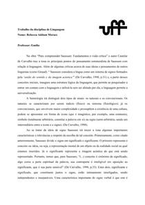 """Trabalho de Linguagem - """"Para compreender Saussure: Fundamentos e visão crítica"""