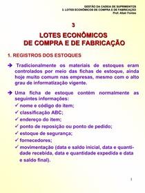 Unidade 3 - Lotes Economicos de Compra e de Fabricacao - 2007.2