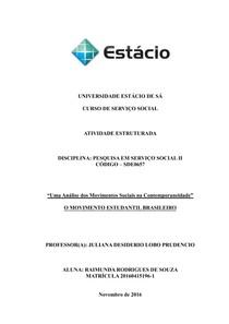ATIVIDADE ESTRUTURADA   PESQUISA EM SERVIÇO SOCIAL II   O MOVIMENTO ESTUDANTIL BRASILEIRO
