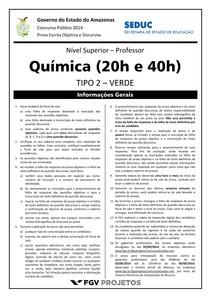 SEDUC-AM 2014 (Prova de Química) - Tipo 02