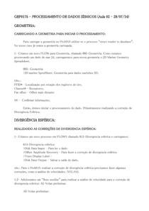 GEF0175 - Processamento de Dados Sísmicos - Aula 02 29/07/14