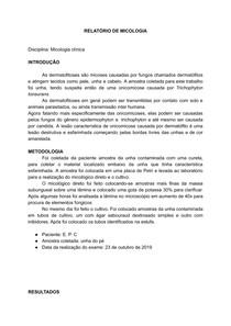 RELATÓRIO MICOLOGIA