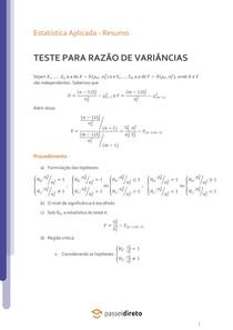 Teste para a razão de variâncias de duas populações normais - Resumo