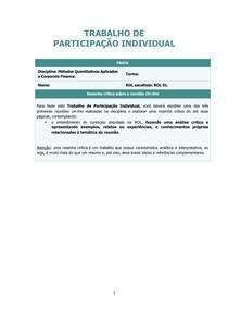 ROL - Métodos Quantitativos Aplicados a Corporate Finance