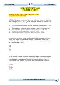 Lista de Exercícios 3 - MRUV