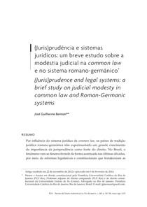 (Juris)prudência e sistemas jurídicos: um breve estudo sobre a modéstia judicial na common law e no sistema romano-germânico*