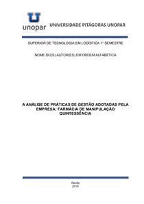 PORTFÓLIO - A ANÁLISE DE PRÁTICAS DE GESTÃO ADOTADAS PELA EMPRESA FARMÁCIA DE MANIPULAÇÃO QUINTESSÊNCIA - COMPLETO