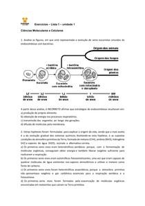 EXERCÍCIOS Ciências Moleculares e Celulares