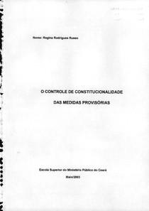 O Controle De Constitucionalidade Das Medidas Provisorias[2003]