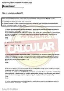 Questões gabaritadas da Banca Cebraspe , Porcentagem#EXCLUSIVOPD
