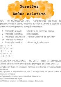 QUESTÕES SAÚDE COLETIVA P1