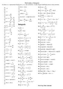 Tabela de Derivadas e Integrais