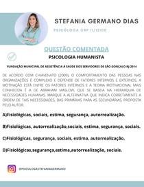 QUESTÃO PSICOLOGIA HUMANISTA PIRÂMIDE DE MASLOW