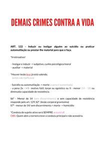 DEMAIS CRIMES CONTRA A VIDA