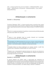 AVG - alfabetização e letramento