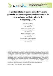 Artigo 2 - A contabilidade de custos como ferramenta gerencial em uma  empresa hoteleira b23580357d
