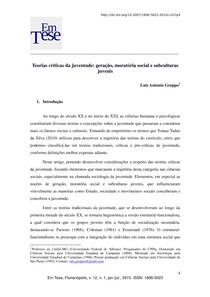 GROPPO- TEORIAS CRÍTICAS DA JUVENTUDE