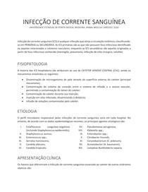 INFECÇÃO DE CORRENTE SANGUÍNEA