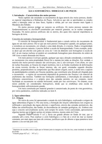 ÁGUA SUBTERRÂNEA - HIDRÁULICA DE POÇOS