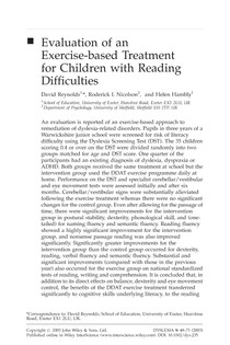 2. Evaluation of an exercise-based treatment for children with reading difficulties