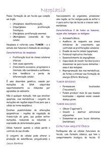 Neoplasia - conceitos da adaptação (aspectos clínicos, carcinogênese, diagnóstico, nomenclatura, epidemiologia, imunoterapia, terapia anticancerígena, antimetabólitos e inibidores da dihidrofolato red