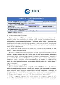 ATIVIDADE ACERCA DE Indenização e FGTS