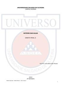 Prof. Carlos Márcio - Roteiro das Aulas - Direito Penal II - 2013-2