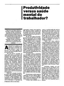 Artigo - Produtividade x Saúde Mental do Trabalhador