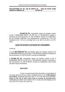 AÇÃO DE DIVISÃO C.C EXTINÇÃO DE CONDOMÍNIO   MODELO