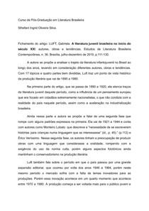 Fichamento do artigo: LUFT, Gabriela A literatura juvenil brasileira no início do século XXI: autores, obras e tendências