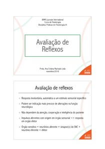Práticas em Fisioterapia III - Aula 10 Avaliação de reflexos