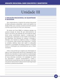 Avaliação Educacional Dados Quantitativos e Qualitativos - Livro Texto - Unidade III