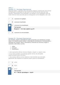 APOL 2 Sociologia e psicologia Organizacional
