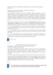 SIMULADO E APOL SISTEMAS DE ENSINO E POLITICAS EDUCACIONAIS NOTA 100