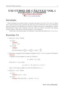 RESOLUÇÕES DE EXERCÍCIOS SEÇÃO 7.5 LIVRO DO GUIDORIZZI