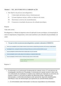 Questões e Respostas ED de Tecnicas de Entrevista e Observação (Modulo 1 ao 4)