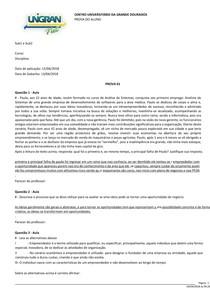 Prova Administração Geral II 2 Unigran Net