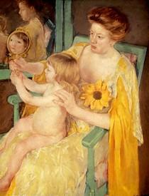 Mary Cassat - Mother-Wearing-A-Sunflower-On-Her-Dress