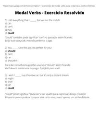 Modal Verbs - Exercício Resolvido