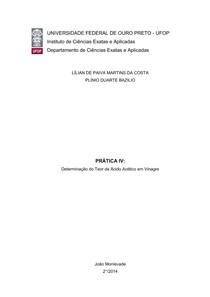 Relatório de Química - Prática 4 - Determinação do teor de ácido acético em vinagre