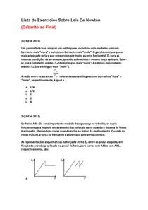 Lista de Exercícios de Física do Enem Sobre Leis de Newton - Parte 5