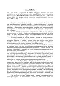 Sintese - A organização do trabalho pedagógico: letramento como eixos orientadores. Cecília Goulart