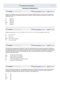 AVALIAÇÃO Aula 1 a 10 e SIMULADOS - MATEMÁTICA PARA NEGÓCIOS