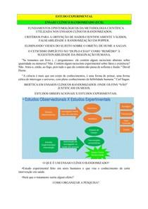 ESTUDO EXPERIMENTAL - Ensaio Clínico Randomizado (ECR)